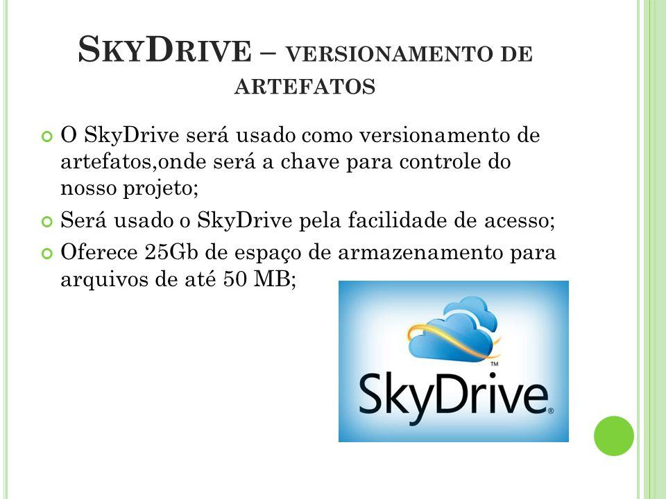 S KY D RIVE – VERSIONAMENTO DE ARTEFATOS O SkyDrive será usado como versionamento de artefatos,onde será a chave para controle do nosso projeto; Será