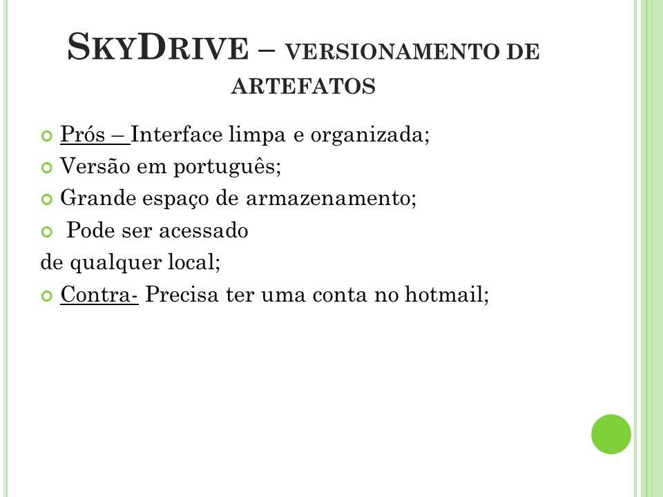 S KY D RIVE – VERSIONAMENTO DE ARTEFATOS Prós – Interface limpa e organizada; Versão em português; Grande espaço de armazenamento; Pode ser acessado d