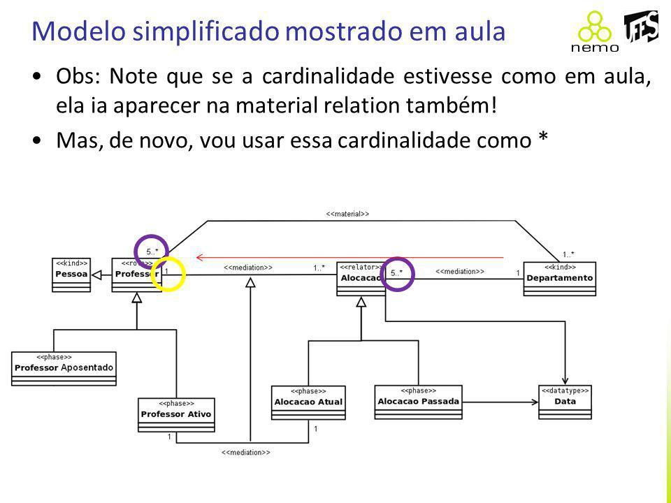 Modelo simplificado mostrado em aula Obs: Note que se a cardinalidade estivesse como em aula, ela ia aparecer na material relation também! Mas, de nov