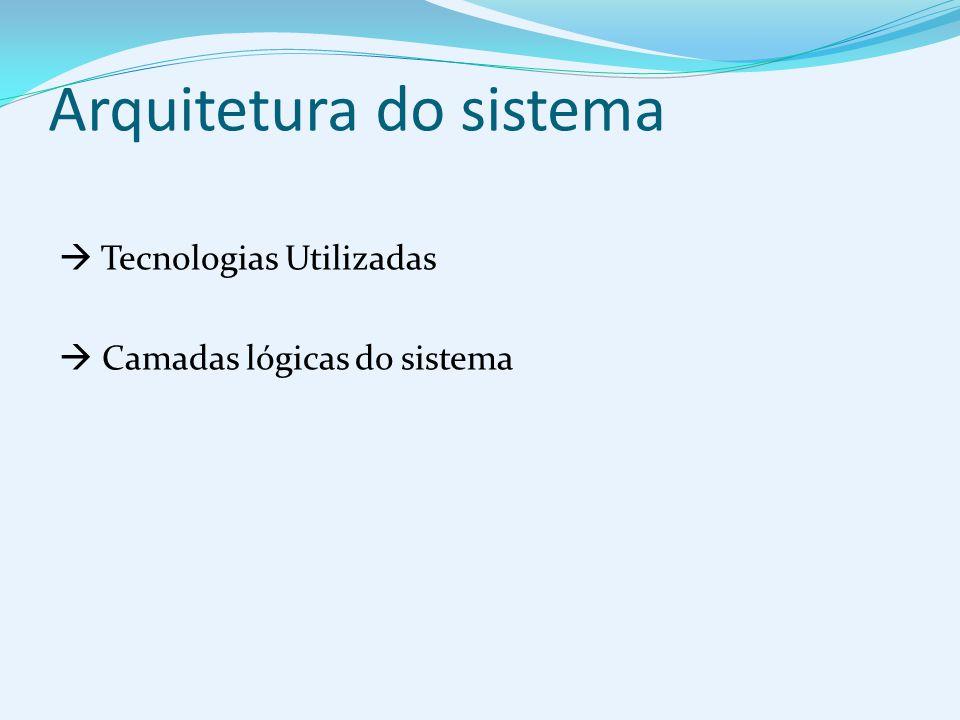 Arquitetura do sistema Tecnologias Utilizadas Camadas lógicas do sistema