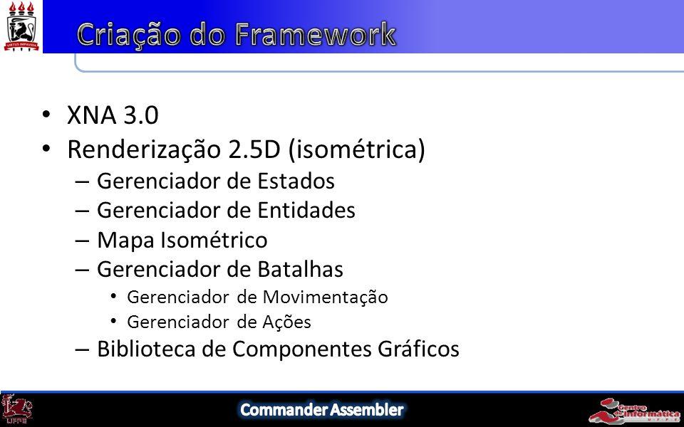XNA 3.0 Renderização 2.5D (isométrica) – Gerenciador de Estados – Gerenciador de Entidades – Mapa Isométrico – Gerenciador de Batalhas Gerenciador de Movimentação Gerenciador de Ações – Biblioteca de Componentes Gráficos