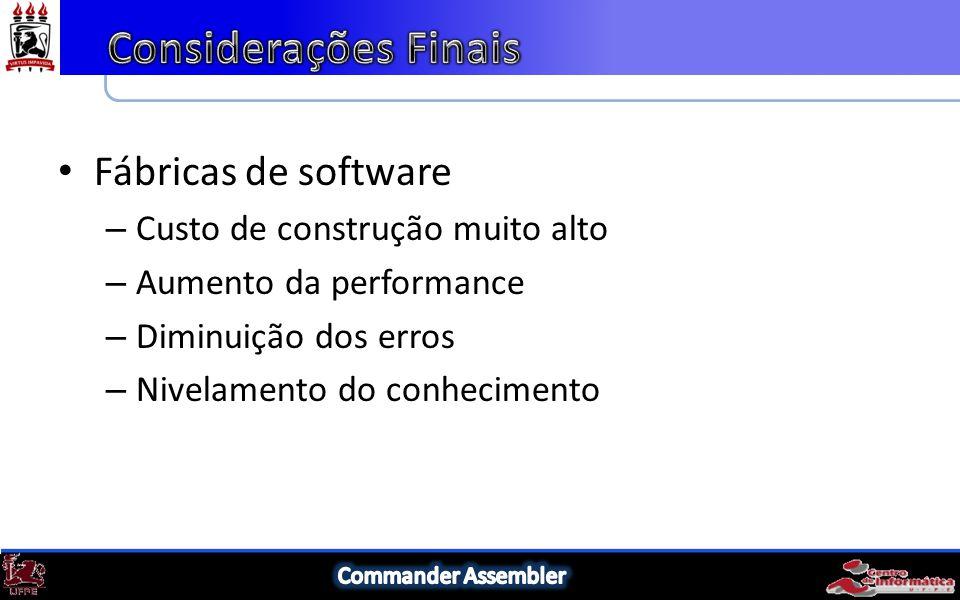 Fábricas de software – Custo de construção muito alto – Aumento da performance – Diminuição dos erros – Nivelamento do conhecimento
