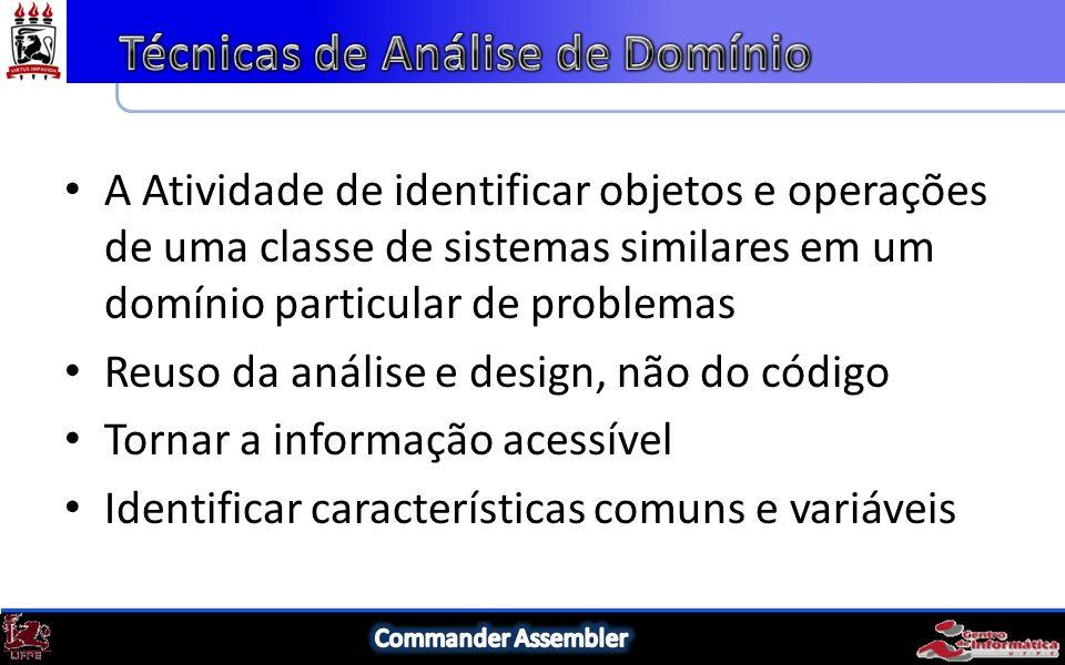 A Atividade de identificar objetos e operações de uma classe de sistemas similares em um domínio particular de problemas Reuso da análise e design, não do código Tornar a informação acessível Identificar características comuns e variáveis