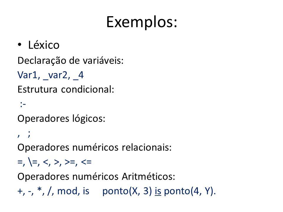 Exemplos: Léxico Declaração de variáveis: Var1, _var2, _4 Estrutura condicional: :- Operadores lógicos:, ; Operadores numéricos relacionais: =, \=,, >