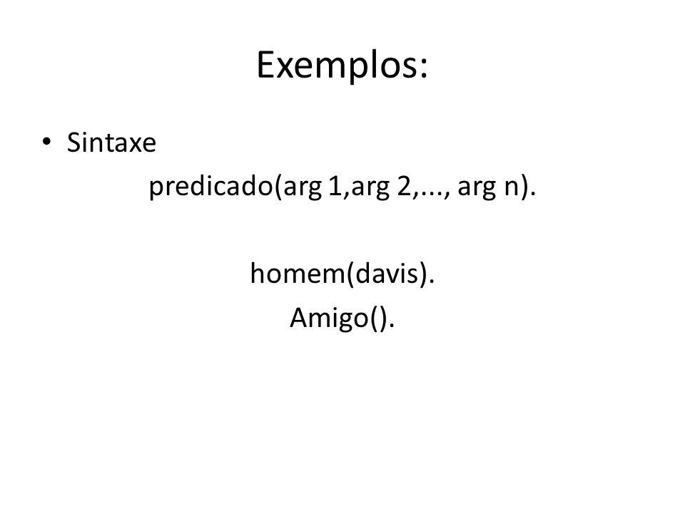 Exemplos: Sintaxe predicado(arg 1,arg 2,..., arg n). homem(davis). Amigo().