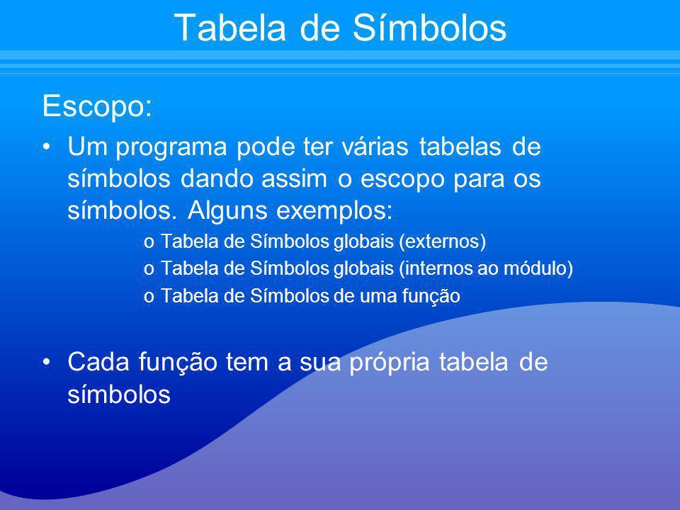 Escopo: Um programa pode ter várias tabelas de símbolos dando assim o escopo para os símbolos. Alguns exemplos: oTabela de Símbolos globais (externos)