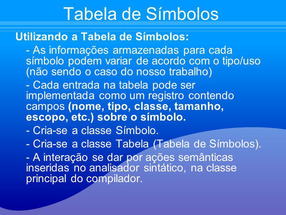 Utilizando a Tabela de Símbolos: - As informações armazenadas para cada símbolo podem variar de acordo com o tipo/uso (não sendo o caso do nosso traba