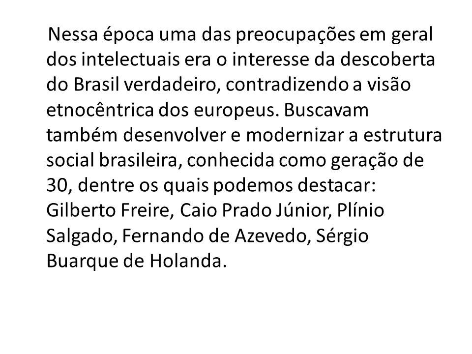 Nessa época uma das preocupações em geral dos intelectuais era o interesse da descoberta do Brasil verdadeiro, contradizendo a visão etnocêntrica dos