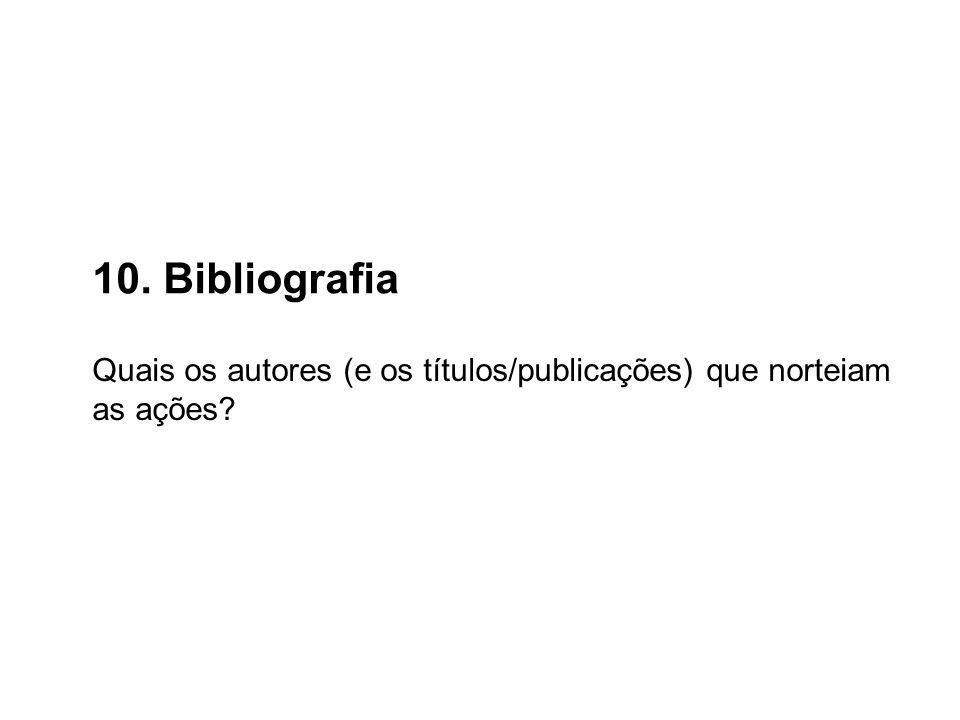 10. Bibliografia Quais os autores (e os títulos/publicações) que norteiam as ações?