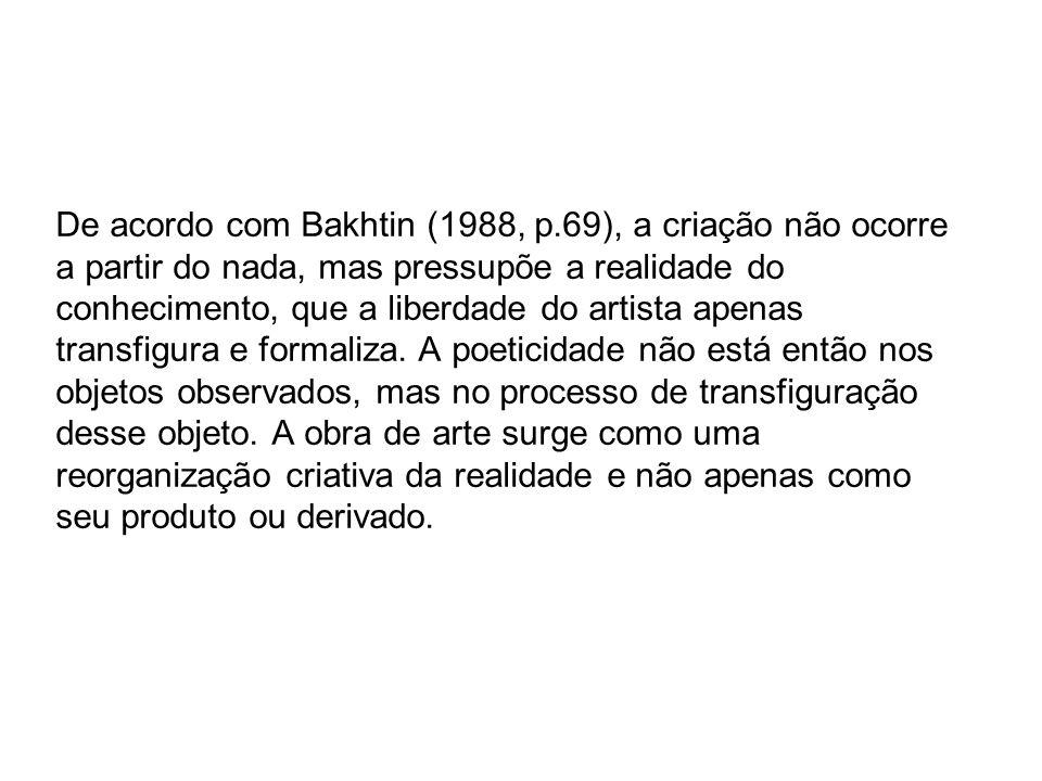 De acordo com Bakhtin (1988, p.69), a criação não ocorre a partir do nada, mas pressupõe a realidade do conhecimento, que a liberdade do artista apena