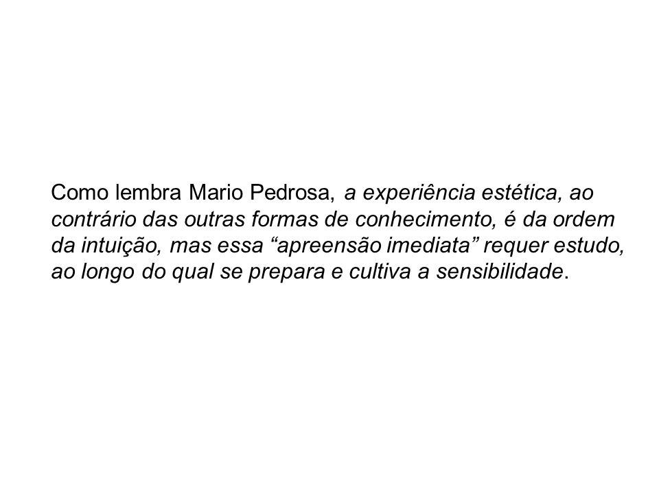 Como lembra Mario Pedrosa, a experiência estética, ao contrário das outras formas de conhecimento, é da ordem da intuição, mas essa apreensão imediata