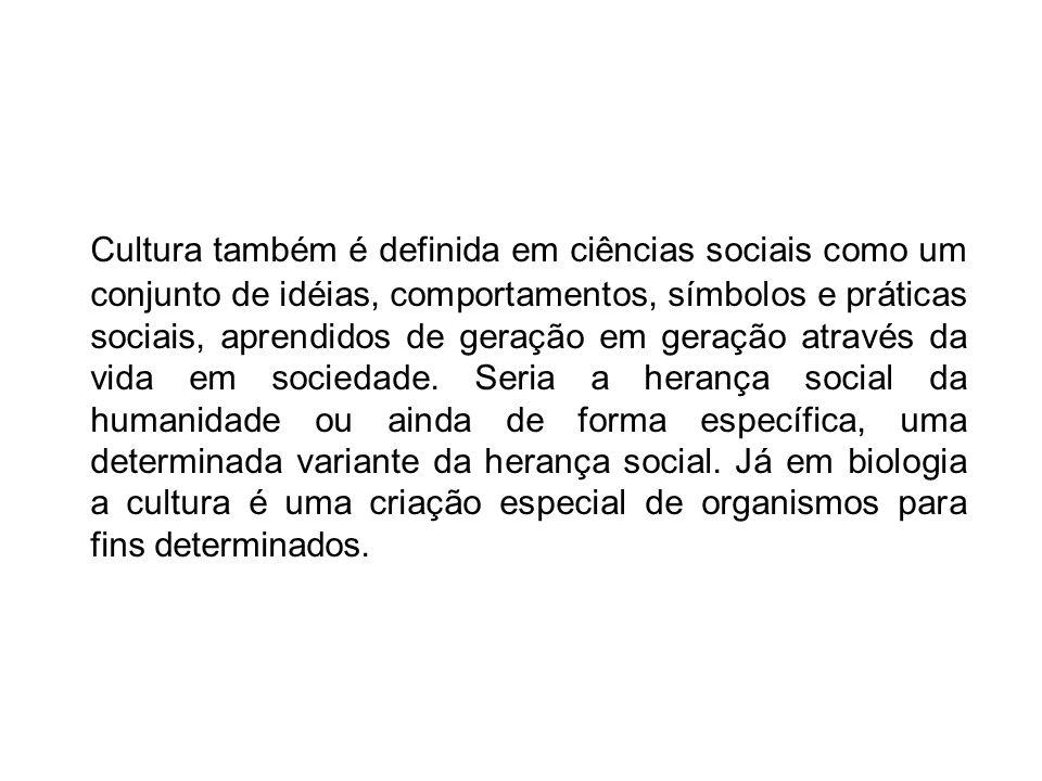 Cultura também é definida em ciências sociais como um conjunto de idéias, comportamentos, símbolos e práticas sociais, aprendidos de geração em geraçã