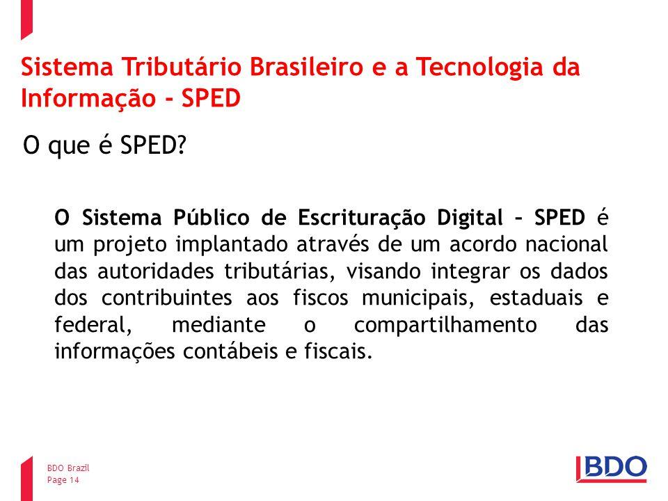 Page 14 BDO Brazil Sistema Tributário Brasileiro e a Tecnologia da Informação - SPED O que é SPED? O Sistema Público de Escrituração Digital – SPED é
