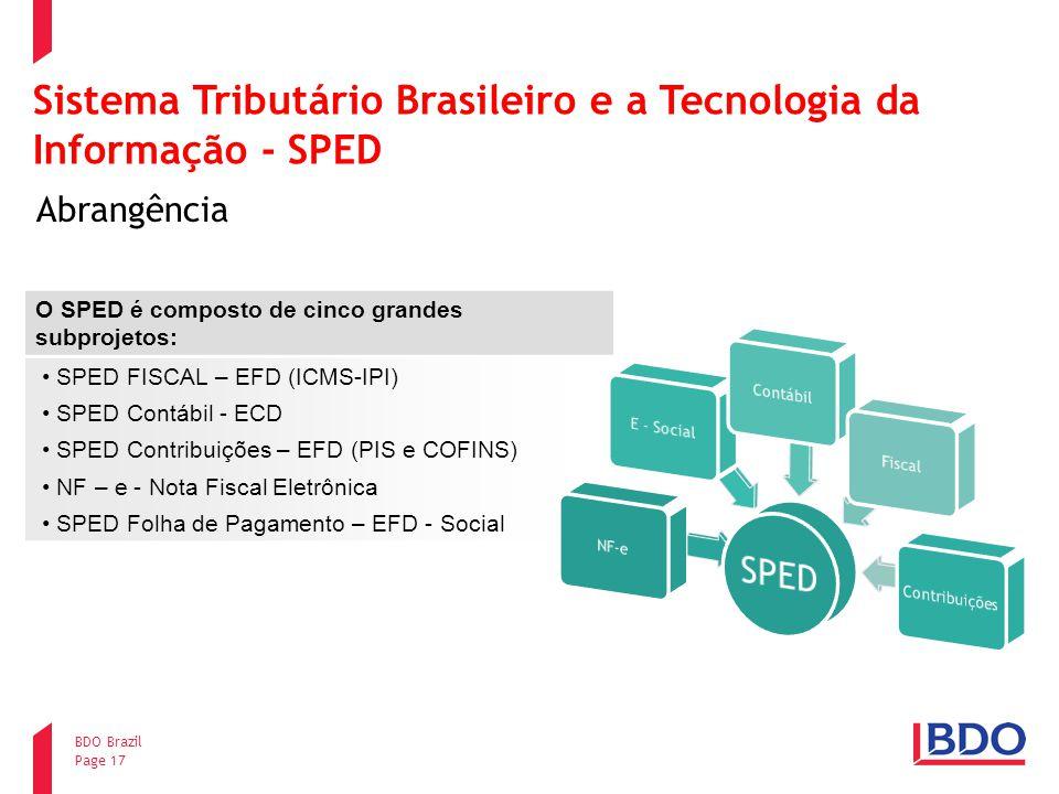 Page 17 BDO Brazil Sistema Tributário Brasileiro e a Tecnologia da Informação - SPED Abrangência O SPED é composto de cinco grandes subprojetos: SPED