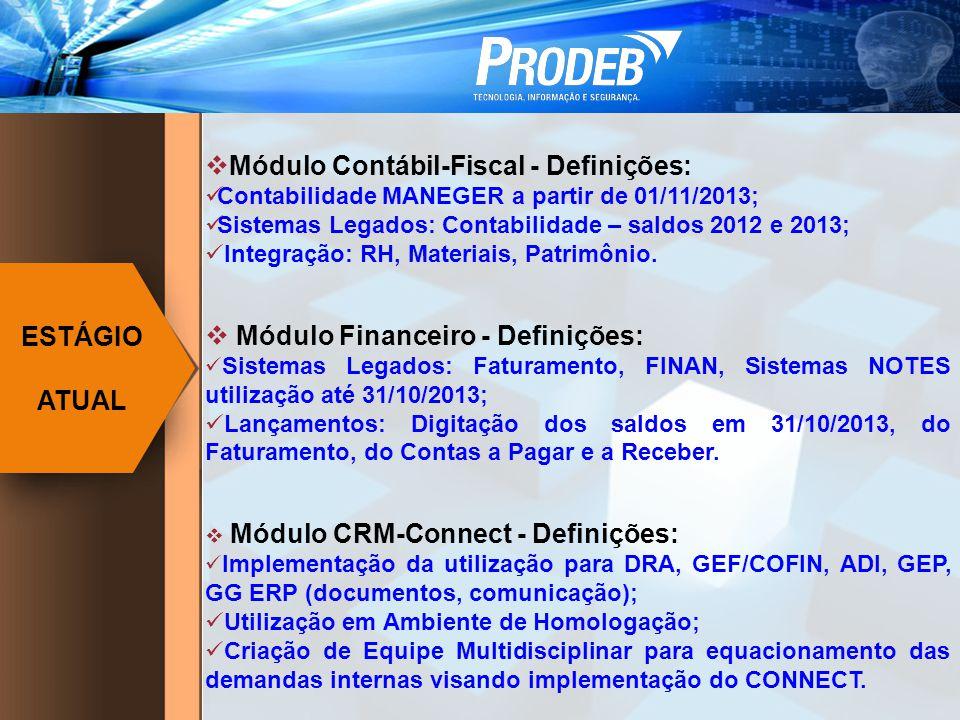 Módulo Contábil-Fiscal - Definições: Contabilidade MANEGER a partir de 01/11/2013; Sistemas Legados: Contabilidade – saldos 2012 e 2013; Integração: RH, Materiais, Patrimônio.