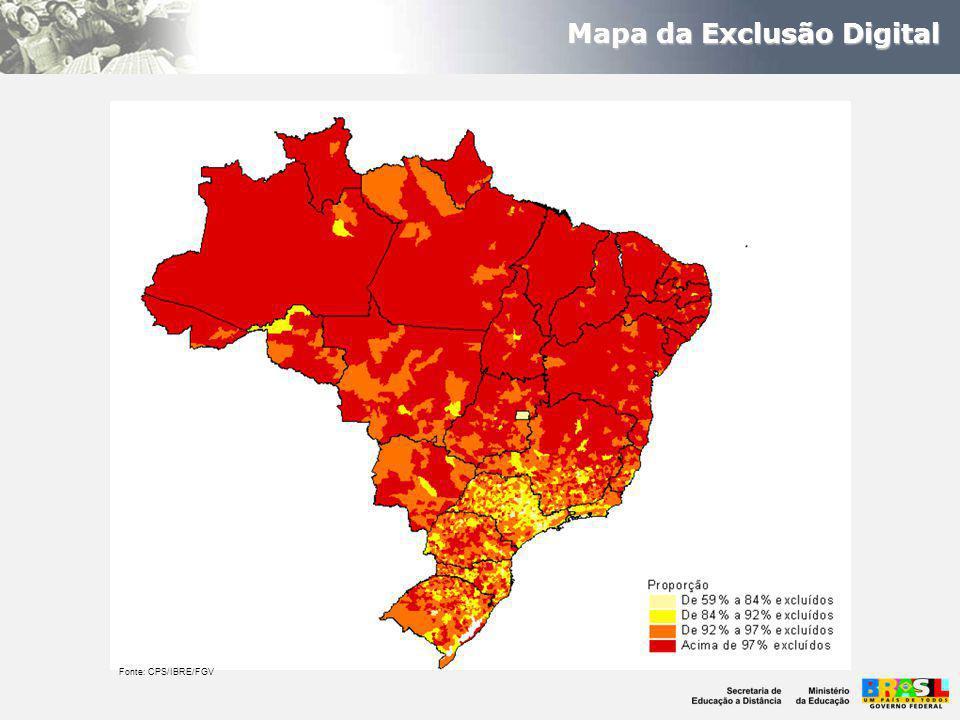 Mapa da Exclusão Digital Fonte: CPS/IBRE/FGV