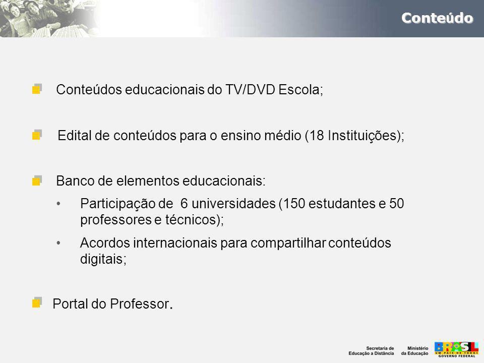 Conteúdos educacionais do TV/DVD Escola; Conte ú do Edital de conteúdos para o ensino médio (18 Instituições); Banco de elementos educacionais: Participação de 6 universidades (150 estudantes e 50 professores e técnicos); Acordos internacionais para compartilhar conteúdos digitais; Portal do Professor.