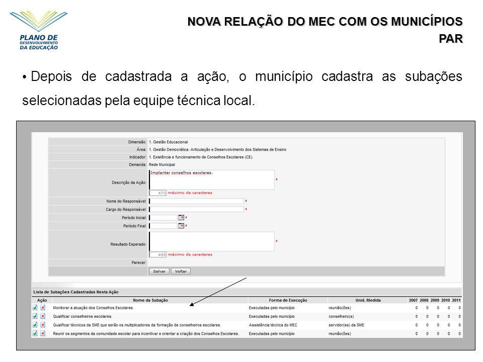 NOVA RELAÇÃO DO MEC COM OS MUNICÍPIOS PAR Depois de cadastrada a ação, o município cadastra as subações selecionadas pela equipe técnica local.