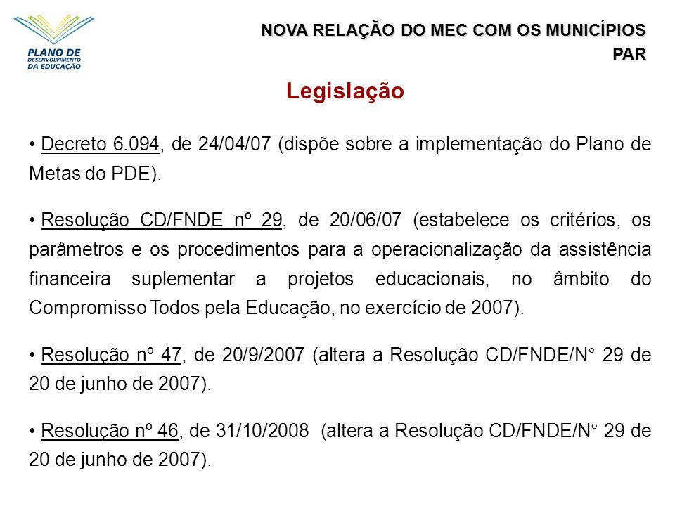Legislação Decreto 6.094, de 24/04/07 (dispõe sobre a implementação do Plano de Metas do PDE). Resolução CD/FNDE nº 29, de 20/06/07 (estabelece os cri