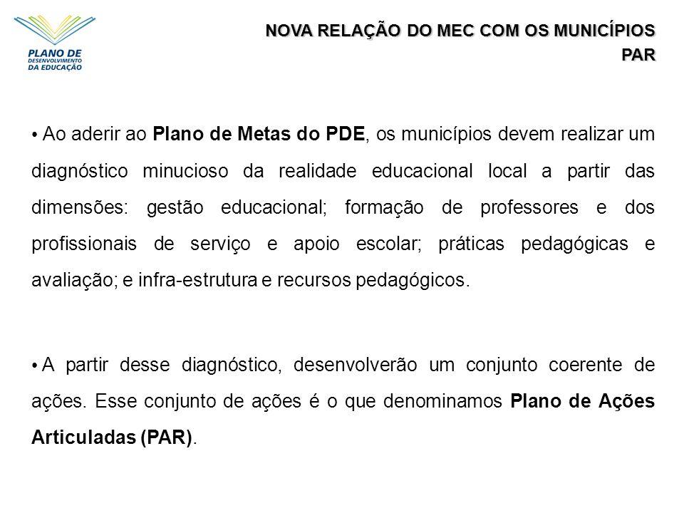 NOVA RELAÇÃO DO MEC COM OS MUNICÍPIOS PAR Ao aderir ao Plano de Metas do PDE, os municípios devem realizar um diagnóstico minucioso da realidade educa