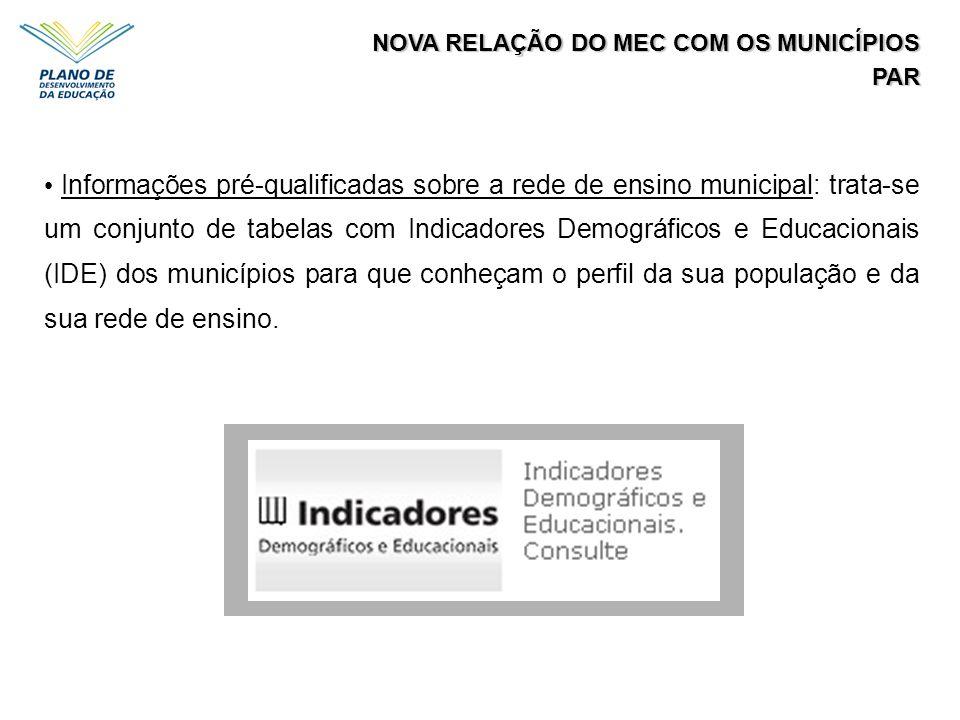 NOVA RELAÇÃO DO MEC COM OS MUNICÍPIOS PAR Informações pré-qualificadas sobre a rede de ensino municipal: trata-se um conjunto de tabelas com Indicador