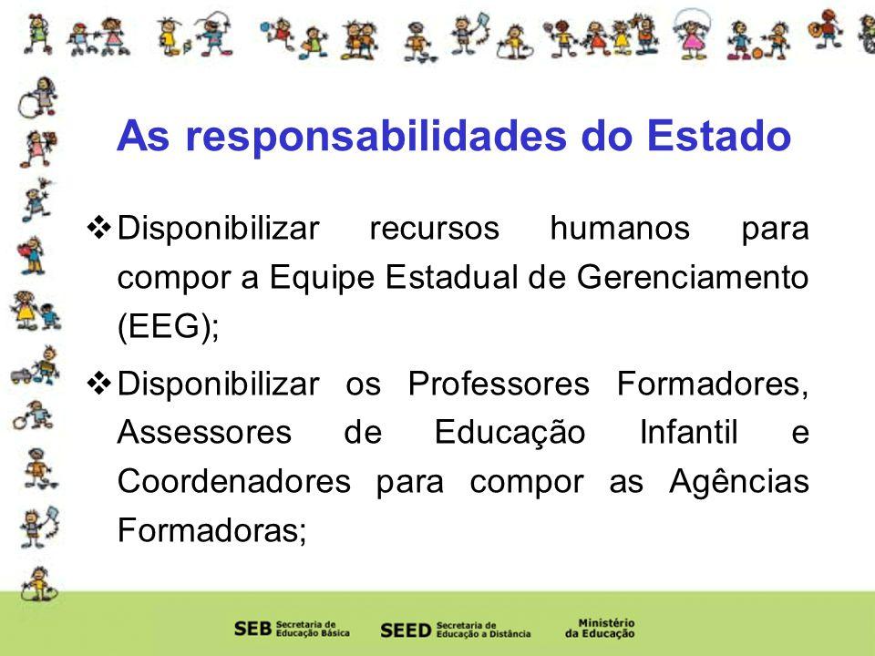 As responsabilidades do Estado Disponibilizar recursos humanos para compor a Equipe Estadual de Gerenciamento (EEG); Disponibilizar os Professores Formadores, Assessores de Educação Infantil e Coordenadores para compor as Agências Formadoras;