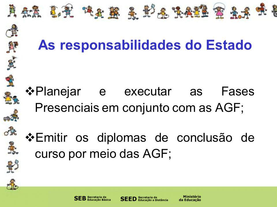 Planejar e executar as Fases Presenciais em conjunto com as AGF; Emitir os diplomas de conclusão de curso por meio das AGF; As responsabilidades do Estado