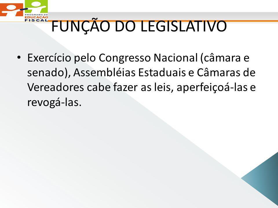 FUNÇÃO DO LEGISLATIVO Exercício pelo Congresso Nacional (câmara e senado), Assembléias Estaduais e Câmaras de Vereadores cabe fazer as leis, aperfeiçoá-las e revogá-las.