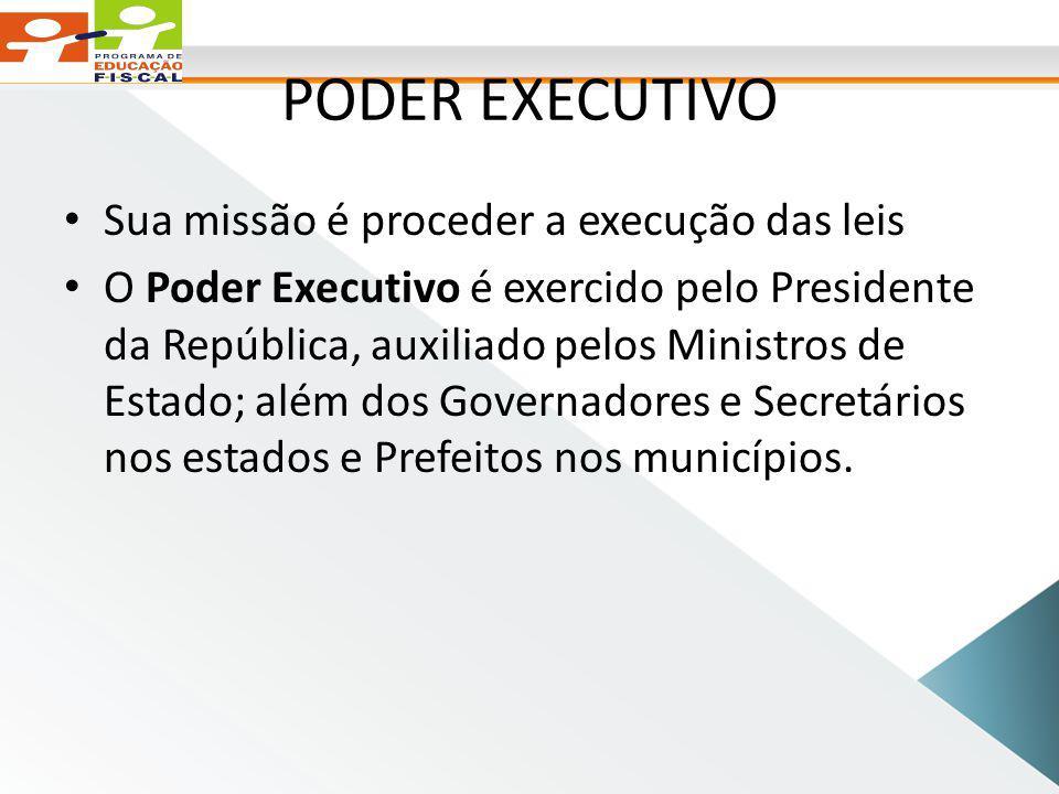 PODER EXECUTIVO Sua missão é proceder a execução das leis O Poder Executivo é exercido pelo Presidente da República, auxiliado pelos Ministros de Estado; além dos Governadores e Secretários nos estados e Prefeitos nos municípios.