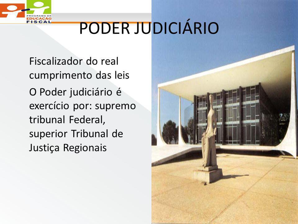 PODER JUDICIÁRIO Fiscalizador do real cumprimento das leis O Poder judiciário é exercício por: supremo tribunal Federal, superior Tribunal de Justiça Regionais
