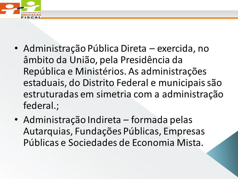 Administração Pública Direta – exercida, no âmbito da União, pela Presidência da República e Ministérios.