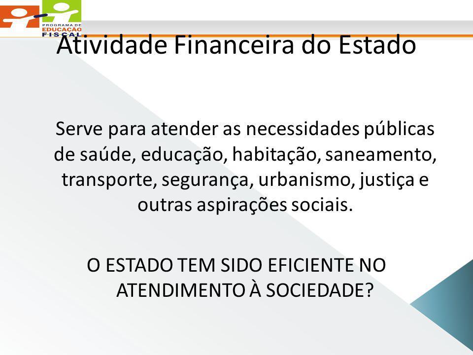 Atividade Financeira do Estado Serve para atender as necessidades públicas de saúde, educação, habitação, saneamento, transporte, segurança, urbanismo, justiça e outras aspirações sociais.