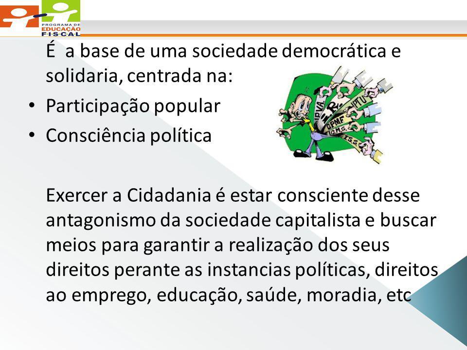 É a base de uma sociedade democrática e solidaria, centrada na: Participação popular Consciência política Exercer a Cidadania é estar consciente desse antagonismo da sociedade capitalista e buscar meios para garantir a realização dos seus direitos perante as instancias políticas, direitos ao emprego, educação, saúde, moradia, etc