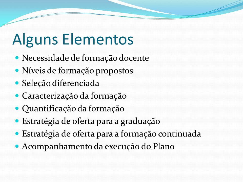 Alguns Elementos Necessidade de formação docente Níveis de formação propostos Seleção diferenciada Caracterização da formação Quantificação da formaçã