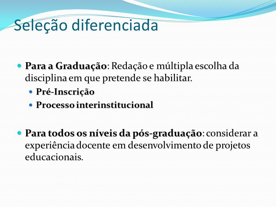 Seleção diferenciada Para a Graduação Para a Graduação: Redação e múltipla escolha da disciplina em que pretende se habilitar. Pré-Inscrição Pré-Inscr
