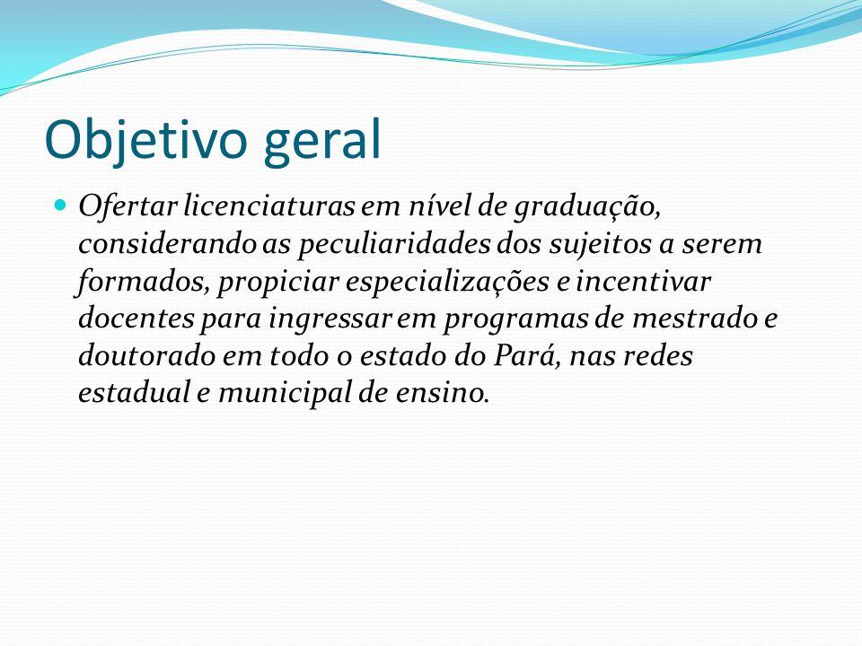 Objetivo geral Ofertar licenciaturas em nível de graduação, considerando as peculiaridades dos sujeitos a serem formados, propiciar especializações e incentivar docentes para ingressar em programas de mestrado e doutorado em todo o estado do Pará, nas redes estadual e municipal de ensino.