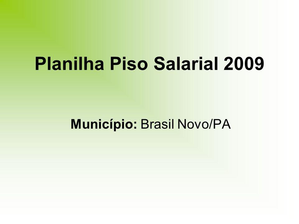 Planilha Piso Salarial 2009 Município: Brasil Novo/PA
