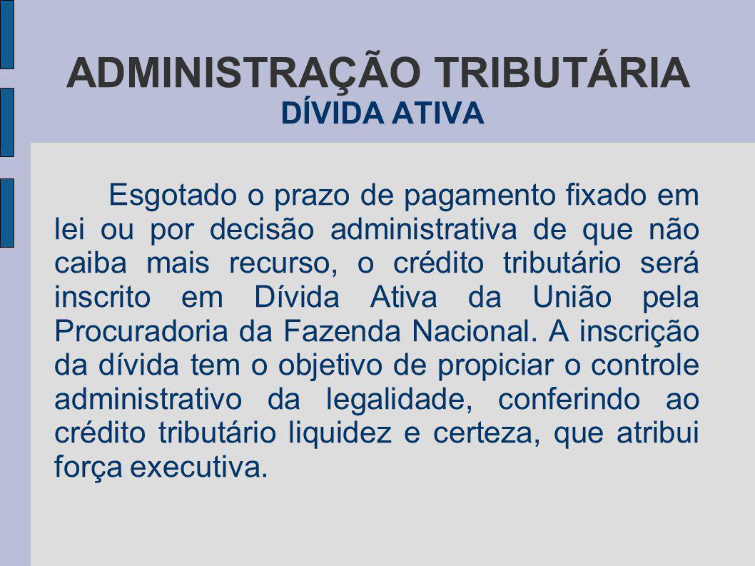 ADMINISTRAÇÃO TRIBUTÁRIA DÍVIDA ATIVA Esgotado o prazo de pagamento fixado em lei ou por decisão administrativa de que não caiba mais recurso, o crédi