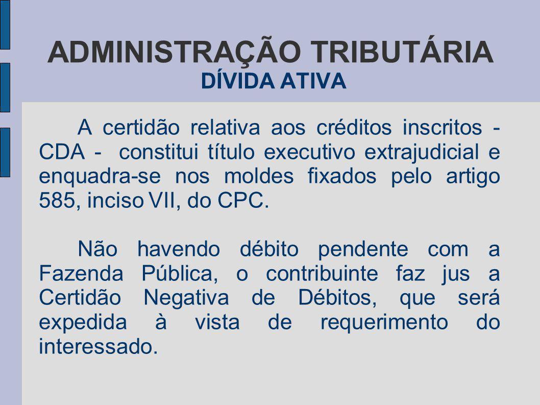 ADMINISTRAÇÃO TRIBUTÁRIA DÍVIDA ATIVA A certidão relativa aos créditos inscritos - CDA - constitui título executivo extrajudicial e enquadra-se nos mo