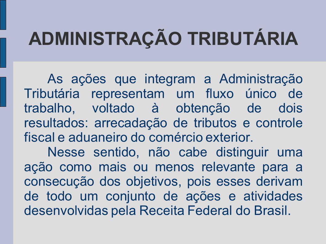 ADMINISTRAÇÃO TRIBUTÁRIA As ações que integram a Administração Tributária representam um fluxo único de trabalho, voltado à obtenção de dois resultado
