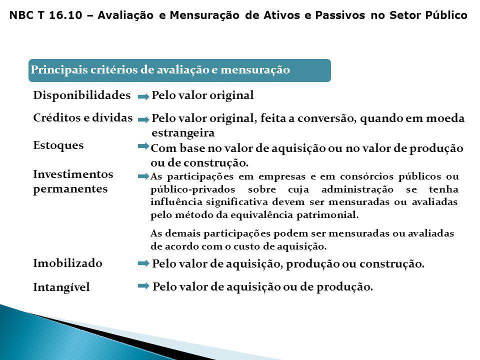Principais critérios de avaliação e mensuração para: DisponibilidadesPelo valor original Créditos e dívidas Pelo valor original, feita a conversão, qu