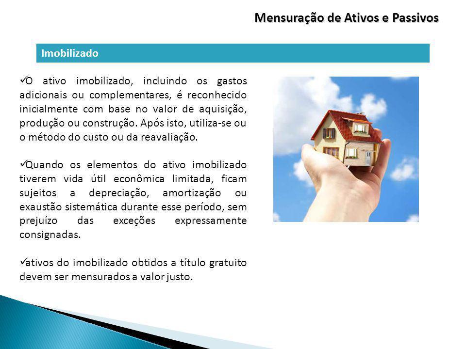 Imobilizado Mensuração de Ativos e Passivos O ativo imobilizado, incluindo os gastos adicionais ou complementares, é reconhecido inicialmente com base