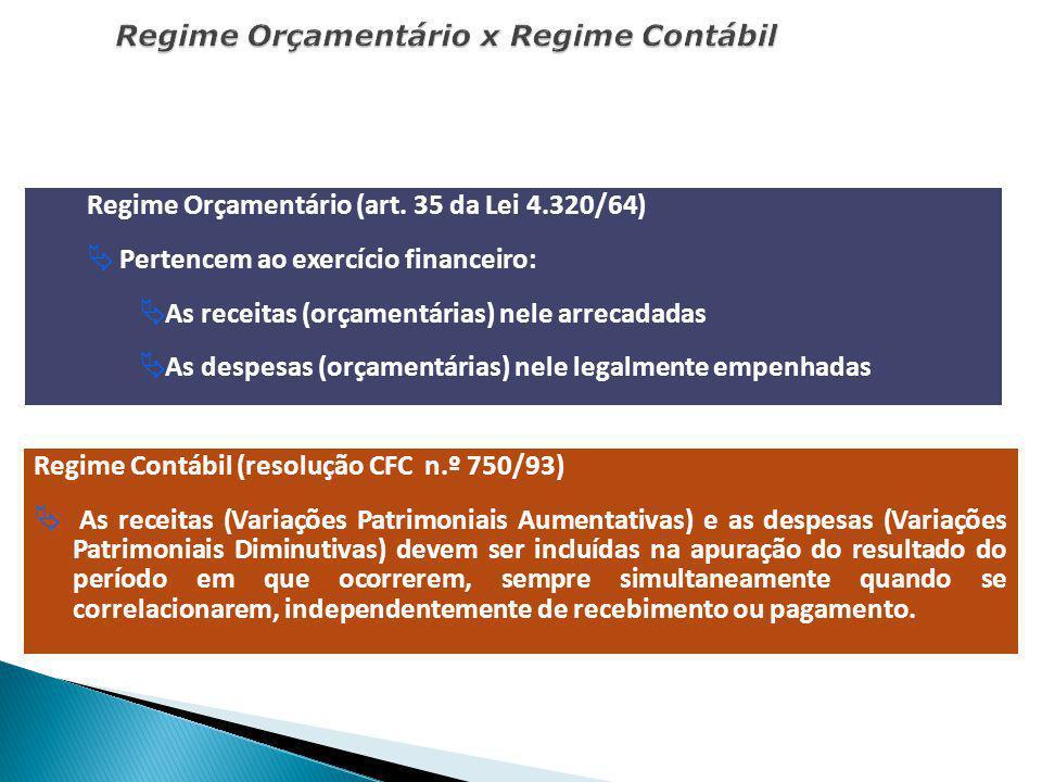 Regime Orçamentário x Regime Contábil Regime Orçamentário (art. 35 da Lei 4.320/64) Pertencem ao exercício financeiro: As receitas (orçamentárias) nel