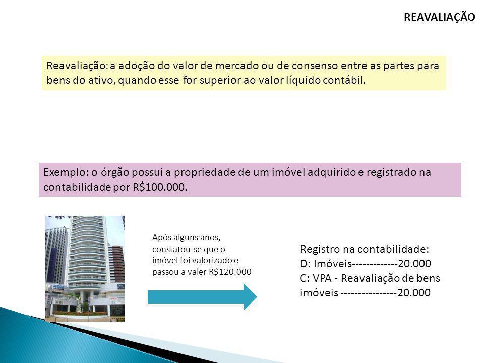 REAVALIAÇÃO Reavaliação: a adoção do valor de mercado ou de consenso entre as partes para bens do ativo, quando esse for superior ao valor líquido con