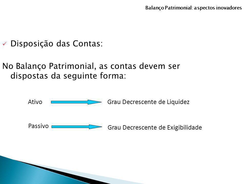 Disposição das Contas: No Balanço Patrimonial, as contas devem ser dispostas da seguinte forma: Grau Decrescente de Liquidez Passivo Ativo Grau Decres