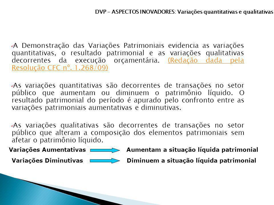 A Demonstração das Variações Patrimoniais evidencia as variações quantitativas, o resultado patrimonial e as variações qualitativas decorrentes da exe