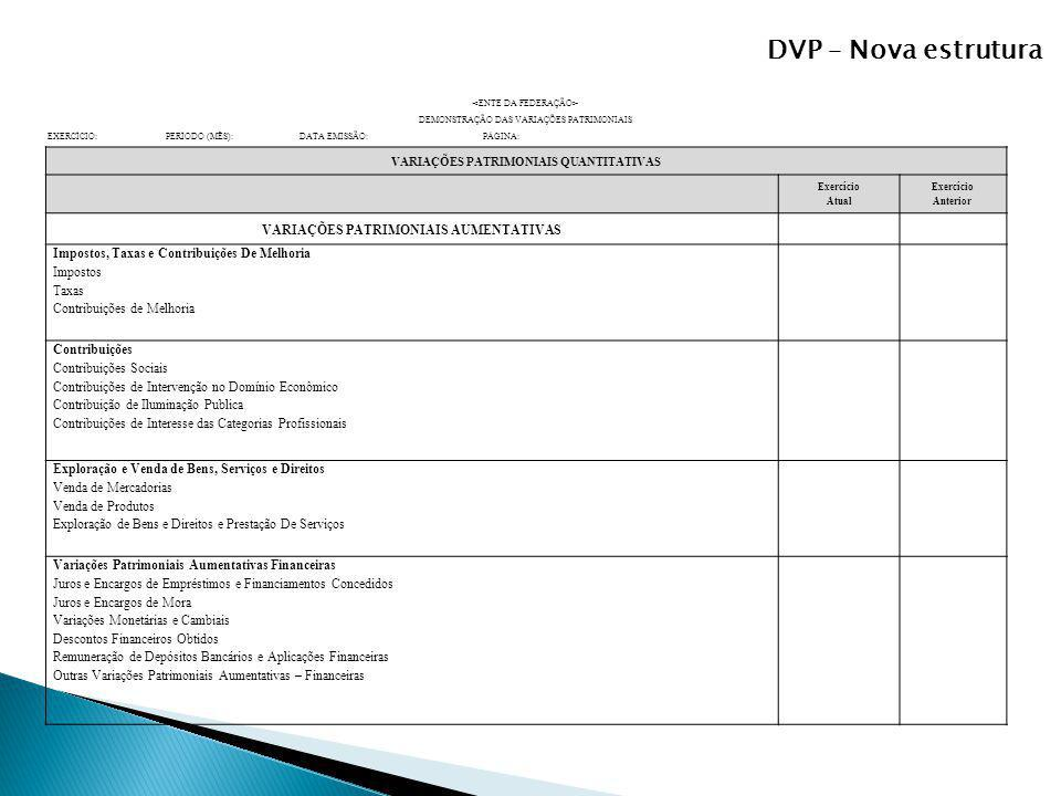 DVP – Nova estrutura DEMONSTRAÇÃO DAS VARIAÇÕES PATRIMONIAIS EXERCÍCIO: PERÍODO (MÊS): DATA EMISSÃO: PÁGINA: VARIAÇÕES PATRIMONIAIS QUANTITATIVAS Exer