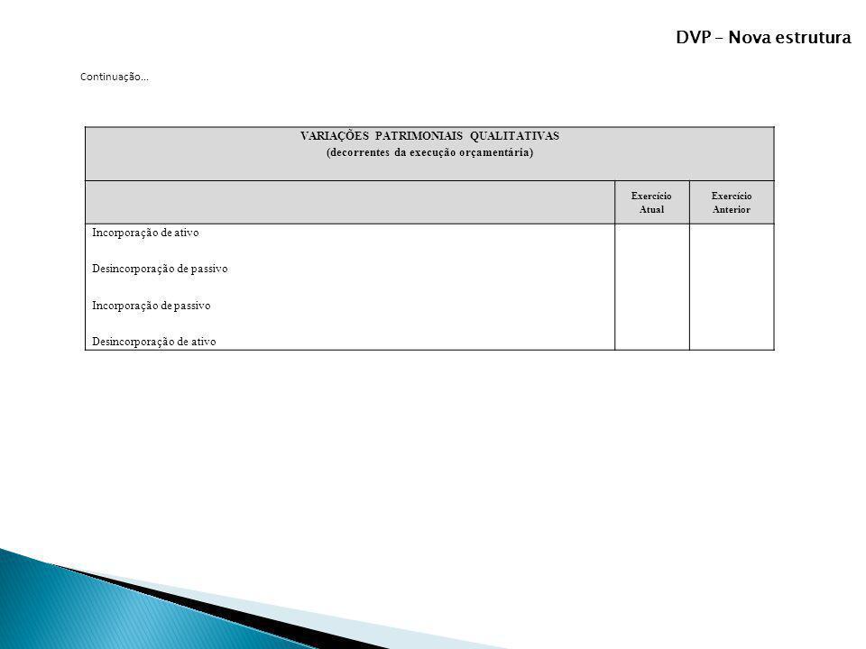 DVP – Nova estrutura Continuação... VARIAÇÕES PATRIMONIAIS QUALITATIVAS (decorrentes da execução orçamentária) Exercício Atual Exercício Anterior Inco
