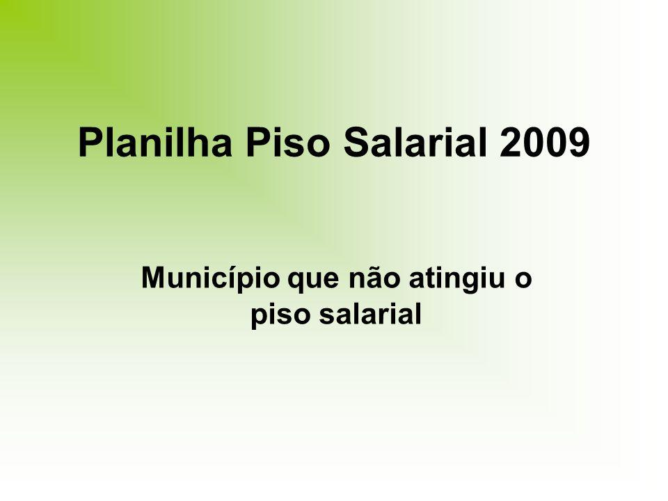 Planilha Piso Salarial 2009 Município que não atingiu o piso salarial