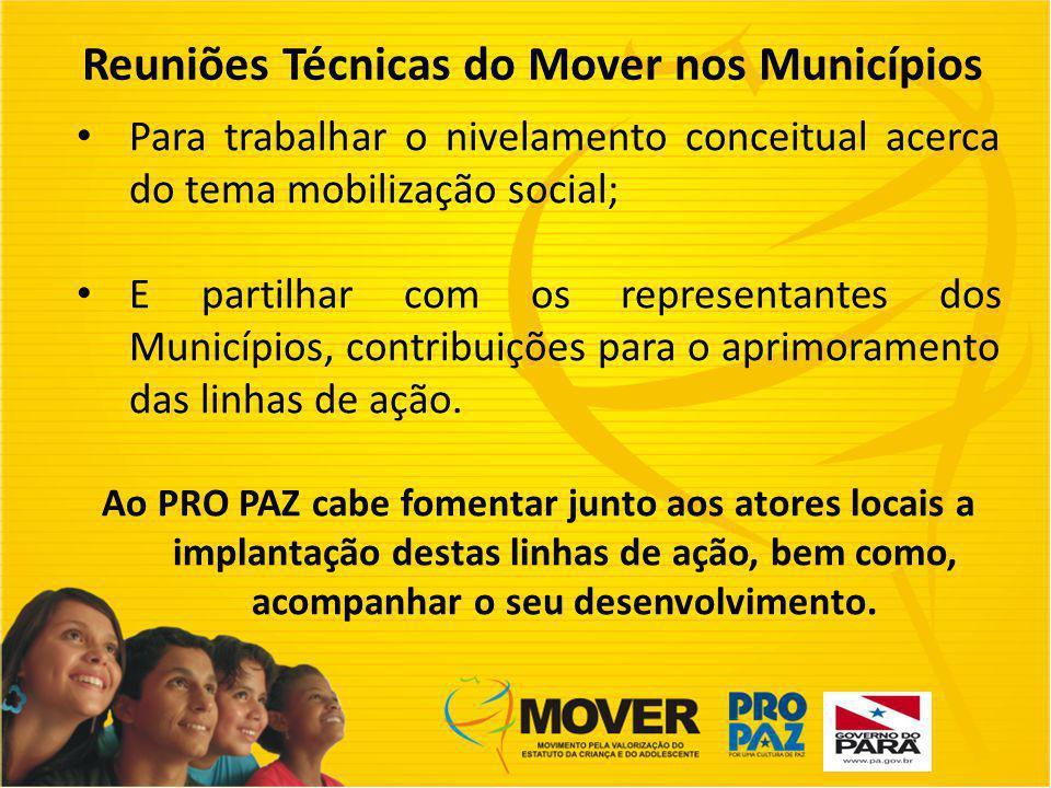Reuniões Técnicas do Mover nos Municípios Para trabalhar o nivelamento conceitual acerca do tema mobilização social; E partilhar com os representantes dos Municípios, contribuições para o aprimoramento das linhas de ação.